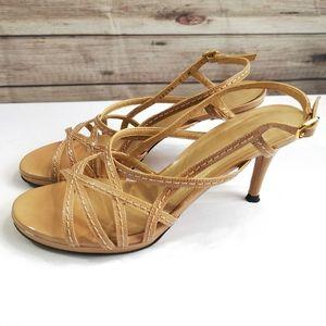 Stuart Weitzman Nude Strappy Leather Heels Size 8